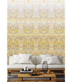Ramose Light / Yellow Abstract Wall covering