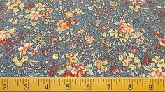 NEW 100% Cotton Concord House BLOOMING FLOWERS Blue Floral Print Fabric BTY