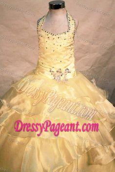 Best Seller Zipper-up Yellow Organza Long Pageant Dresses for Girls under 150
