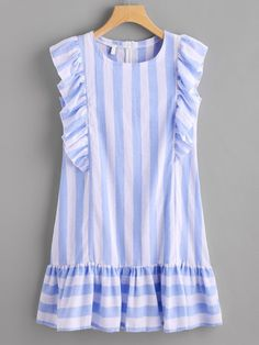 SheIn offers Contrast Striped Frill Trim Dress & more to fit your fashionable needs. Simple Dresses, Casual Dresses, Short Dresses, Girls Dresses, Summer Dresses, Tunic Dresses, Sleeve Dresses, Pretty Dresses, Ruffle Sleeve Dress