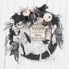 Tweak it a bit and it'll be perfect. Halloween costumes Halloween decorations Halloween food Halloween ideas Halloween costumes couples Halloween from brit + co Halloween Halloween Kostüm, Halloween Skeletons, Holidays Halloween, Halloween Wreaths, Fall Wreaths, Halloween Projects, Whimsical Halloween, Deco Wreaths, Halloween Signs