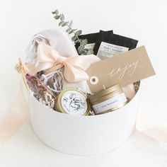 """Marigold & Grey's """"Yes Way Rosé"""" gift box design is a beautiful, thoughtful way to say thank you! Perfect as a bride to be gift, engagement gift, thank you gift, wedding welcome gift, hostess gift, bridesmaid gift, housewarming gift, client gift, corporate gift, bridal shower gift and more!  Source: https://www.marigoldgrey.com/shop/pre-designed-gifts.html"""