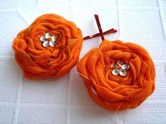 tangerine monarch Peach Orange cotton rosettes by rosesupplies