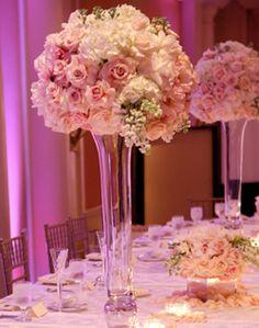 WeddingChannel Galleries: Tall Pink Centerpieces