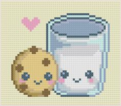 cookie and milk cross stitch pattern