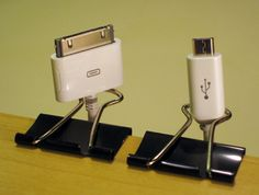 Use binder clips to keep frequently used cords ready and available!