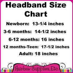 Headband Size Chart – Hairbow Supplies, Etc.