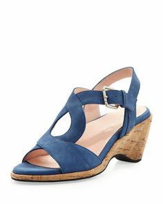 Marianna Suede Wedge Sandal, Delft Blue by Taryn Rose at Neiman Marcus.