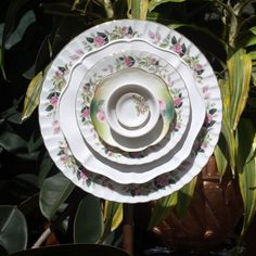 vintage pink Glass Plate Flower repurpose white by ARTfulSalvage, $43.00