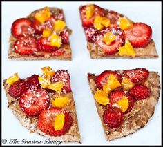 "- Vegan Breakfast Pizza ""Fruit pizza"" for breakfast. Whole wheat pita, almond butter, kiwi, banana & strawberry, cinnamon on top.—a good idea for airplanes! (Howard and I ate this on the way to Miami) Clean Eating Breakfast, Breakfast Pizza, Breakfast Fruit, Mexican Breakfast, Breakfast Sandwiches, Breakfast Bowls, Vegan Breakfast, Breakfast Ideas, Breakfast Recipes"