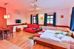 Stúdió Apartmanunk hálótere és az étkező Bed, Furniture, Home Decor, Stream Bed, Home Furnishings, Beds, Home Interior Design, Decoration Home, Home Furniture
