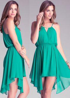 Beading Straps Irregular Hem Green Dress
