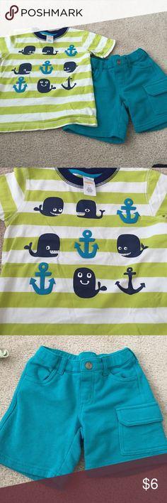 Gymboree outfit Cotton aqua shorts with matching shirt Gymboree Matching Sets