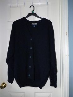 MENS xlg Navy blue S.W.m CASUALS BUTTON DOWN CARDIGAN SWEATER V-neck eu #SWmCasuals #Cardigan