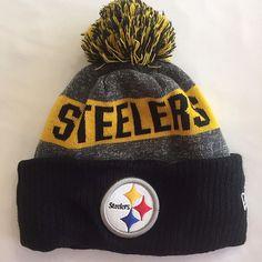 Pittsburgh Steelers Knit Beanie Cap Hat NFL 1Size Adult Pom Pom New Era  Football 2d7f800dd