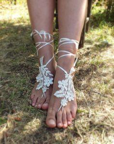 french lace, ivory, silver frame,bridal anklet, Beach wedding barefoot sandals, bangle, wedding anklet, anklet, bridal, wedding. free ship