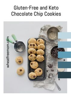 These gluten free and keto chocolate chip cookies are a great low carb cookie treat. Easy to make and a perfect snack in the afternoon for the kids. Gluten Free Cookie Recipes, Gluten Free Cookies, Low Carb Recipes, Stevia Chocolate, Keto Chocolate Chip Cookies, What Recipe, Food Print, Snacks, Easy