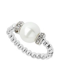 Cream Silver Bead And Imitation Pearl Stretch Ring