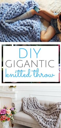 How to make your own knitted throw. Home Decor, Knitting Projects, Craft Projects, DIY Craft Projects #Knitting #CraftProjects #DIY