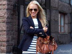 Dress/ Henri Lloyd, blazer / Zara, bag / Mulberry, shoes / Tory Burch, bracelet / Marc by Marc Jacobs, watch / MK, sunnies / Ray-Ban