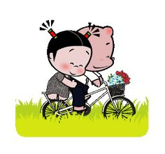 LINE Creators' Stickers - Pobaby (sweet travel) Example with GIF Animation Cute Couple Pictures Cartoon, Cute Love Cartoons, Cute Pictures, Cute Love Images, Cute Love Gif, Funny Cartoon Gifs, Cute Couples Goals, Line Sticker, Cute Boys