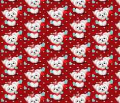 Maltese Red and Hearts fabric by catiacho on Spoonflower - custom fabric