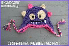 FREE SHIPPINGCrochet baby hatOriginal Monster by KCrochetdesigns, $25.00  Sweet & soft!