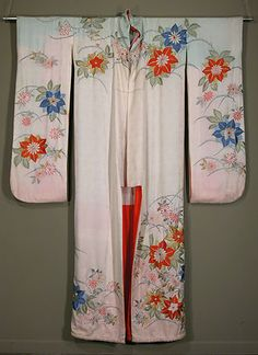 Japanese Hikizuri  Taisho period 1930s.     Rinzu silk geisha's spring or summer kimono with silk, gold and silver floral embroidery; painted pastel shading.  Lovely rinzu silk lining.