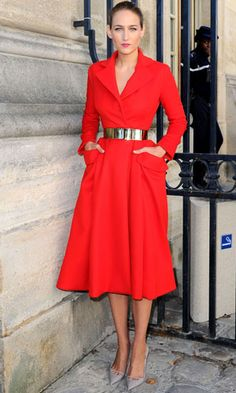 Actress Leelee Sobieski looked Grace Kelly-esque in a crimson trench dress  and dove-grey heels as she arrived at the Christian Dior Spring Summer 2013 fashion show.