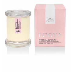 Ecoya Mini Metro Jar Candle - Sweet Pea and Jasmine featuring polyvore, home, home decor, candles & candleholders, white home decor, jasmine candle, mini candles, miniature candles and white candles