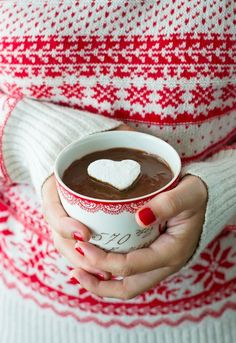 An alpine red and white sweater on woman holding cup of hot chocolate. Christmas Morning, Christmas Colors, Christmas And New Year, All Things Christmas, Winter Christmas, Christmas Home, Xmas, Country Christmas, Merry Christmas