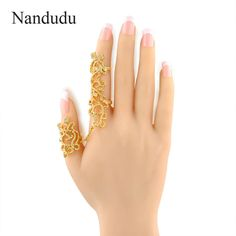 Nandudu Punk Two Finger Rings Tiny Crystal Gold Color Hollow Flower Women Fashion Jewelry Gift R893