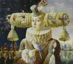 Lady with a Parrot Oil on canvas 70 x 80 cm by Anna Berezovskaya, b. 1986