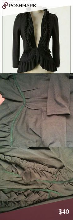 Military style cropped blazer Ruffle, some stretch  and very flattering.  In prefect condition and no know flaws that I can see. Anthropologie Jackets & Coats Blazers