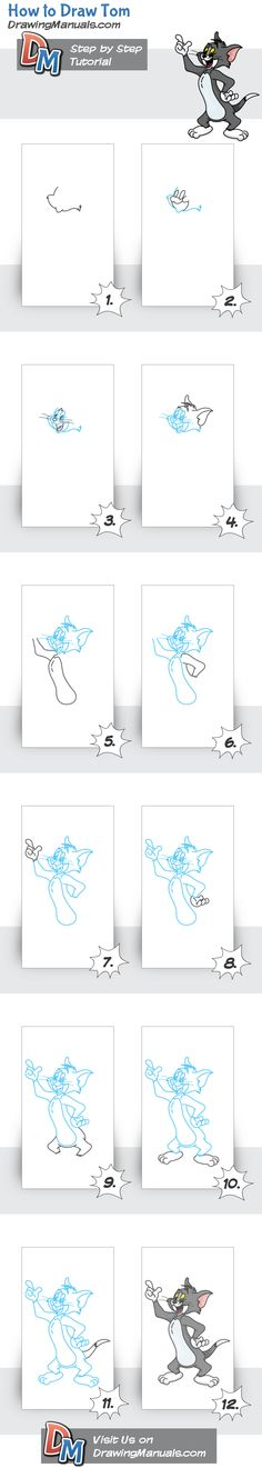 How to Draw Tom from Tom & Jerry