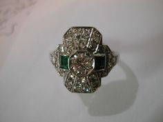 Fine Art Deco Diamond & Emerald Platinum Ring. This pictire I'm afraid doesn't show how drool worthy this ring really is.