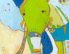 Bambino éléphant en toile imprimé par Jennifer Mercede 14 X 14