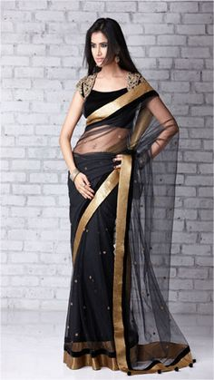 Black & Gold saree or sari with creative blouse design India Fashion, Ethnic Fashion, Asian Fashion, Saree Blouse Patterns, Saree Blouse Designs, Indian Attire, Indian Ethnic Wear, Indian Dresses, Indian Outfits