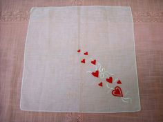 Vintage Valentine's Day Handkerchief by LeapofFaithCraftVin on Etsy
