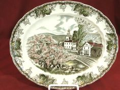 """Vintage 12"""" oval serving plate in the Friendly Village pattern from Johnson Brothers.  Beautiful classic pattern made in England."""