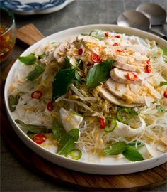 Poached chicken salad with vermicelli, young coconut, thai basil & Vietnamese mint