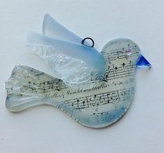 Dove Fused Glass sun catcher/ ornament Dove in Light by CDChilds
