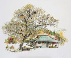 (Korea) A disappearing small store in a rural by Lee Me Kyeoung ). with a pen use the acrylic ink on paper. Colorful Art, Classic Art, Asian Art, Korean Art, Painting, Illustration Art, Art, Art Pictures, Watercolor Illustration