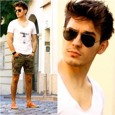 Ray Ban Aviator Shades, Vix V Neck Tee, Jules Camo Printed Shorts, Jules Cotton Espadrilles, Daniel Wellington Dw Watch