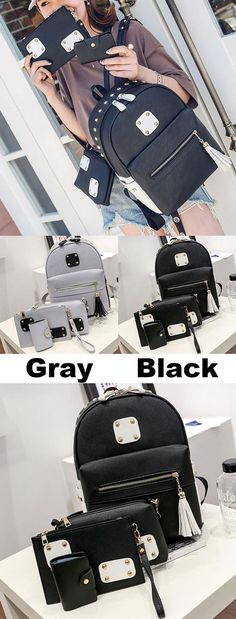 New PU Rivets Patch Black Gray Tassel Large School Backpack for big sale! #pu #backpack #bag #rivet #patch #new #tassel #school
