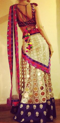golden polka dot pink and purple sari