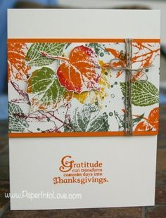 Stampin Up French Foliage 1  LOVE THIS PINNER and Board!  : (Pinterest). Sylvia Ruthven Thanksgiving cards and stuff