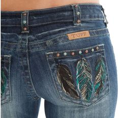 Love this Fly Free jean with feather embroidery and stud detail by Cowgirl Tuff