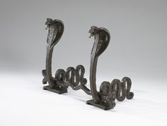 Edgar Brandt Pair of Andirons ca. 1920 Edgar Brandt (French , 1880 - wrought iron andirons: 26 x x 19 in x x cm) crossbar: x 36 x in x x cm) Gothic Living Rooms, Monster House, Art Deco Home, Museum Of Fine Arts, Modern Materials, Eclectic Style, Geometric Shapes, Metal Art, Art Decor