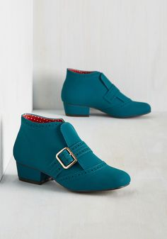 Showcase Your Strut Bootie. By taking these teal booties for a spin, you claim the city as your catwalk! #blue #modcloth